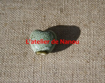 ceramic bead 15 mm Green freshwater heart shaped handmade