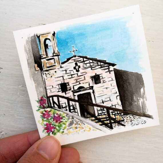 Personalized watercolor card, travel souvenirs, small ticket, small painting, custom art, pocket paintings, Tag