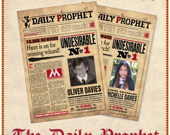 Printable Harry Potter Daily Prophet Front Page – Custom Made - Large