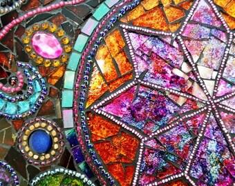 SOLD - Art Nouveau antique, Mosaic table, mosaic art - SOLD