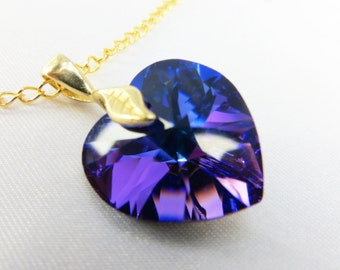 Swarovski Heart Necklace in Heliotrope Purple & Blue with 14k gold fill chain and clasp for bridal, bridesmaid or Valentines Day