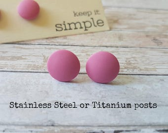 Pink stud earrings minimalist, Hypoallergenic earrings pink, Simple post earrings titanium, Light pink studs. Pink earrings everyday studs