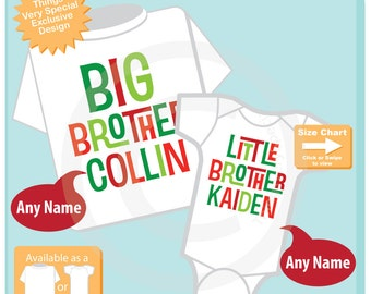 Kids Christmas outfit - Boys Set of Two Big Brother Little Brother Shirt set of 2, Sibling Shirt, Personalized Tshirt and Onesie (11132015c)