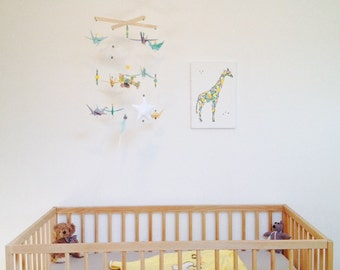 Watery green and yellow airplanes origami baby mobile made of wood