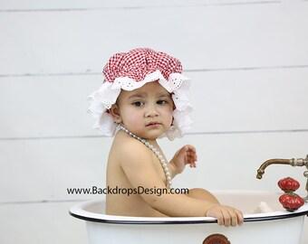 Baby Bath hat Bonnet  Cap  Photography prop newborn muffin Cap toddlers baby girl vintage prop for bath tub bath/mop hat capr