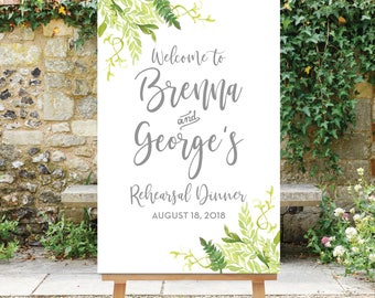 Rehearsal Dinner Welcome Sign, Greenery Welcome Sign, Wedding Rehearsal Welcome Sign, Digital File, Printable - The Willow