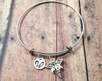 Physical therapy assistant initial bangle - PTA jewelry, caduceus bracelet, PTA bracelet, Physical therapy assistant jewelry, PTA gift