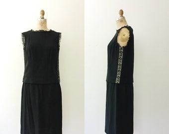vintage black dress / 1960s two -piece dress / Illusion lace dress