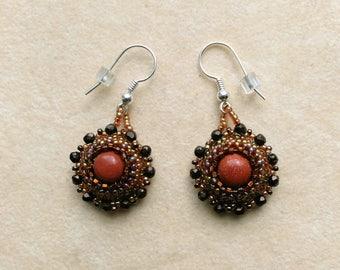 Beadwoven Goldstone Earrings. Beaded Earrings, Goldstone Earrings, Sterling Silver EarWire, Lace Beadwork - Golden stone by enchantedbeads