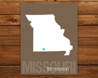 Custom Missouri, Personalized State Art, State Print, State Love, State Map, Country, Heart, Silhouette, 8 x 10 Wall Art Print