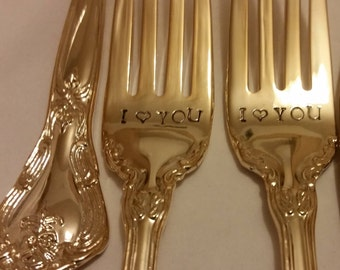 "Gold New Vintage wedding forks gold flatware 24K Gold plated Hand stamped Wonky I ""heart"" YOU gold forks cake server forks"