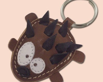 Sweet Little Hedgehog Leather Animal Keychain - FREE shipping worldwide