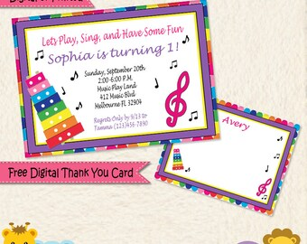 Music Themed Personalized Invitations Thank You Cards Printed and Digital Pink Purple Yellow Blue Green Music Notes First Birthday Invite
