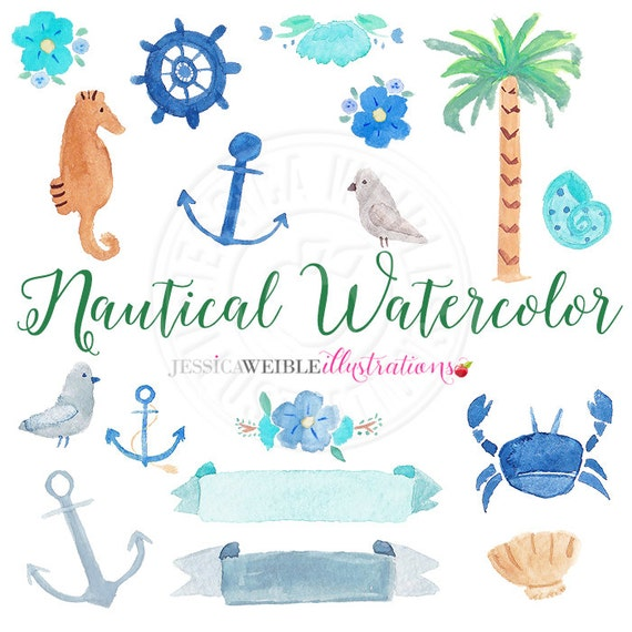 Nautical Watercolor Clipart Digital Clip