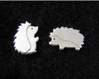 Little silver hedgehog stud earrings, spiky hedgehog babies