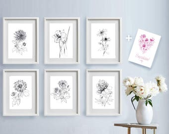 Set of 6 garden flowers sketches, Botanical Art Prints, pen line drawing artwork, floral black white, gift for her, printable wall decor