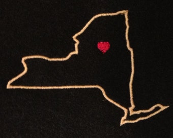 New York appliqué and embroidery design with optional heart.  7 different styles and sizes.  Buy NY get another free (e.g. buy NY - get AL)