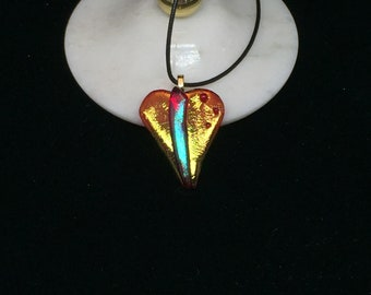 Necklace – Iridescent Red and Gold Heart Fused Glass Pendant