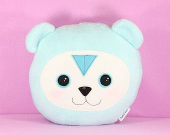 Turquoise Bear Pillow, Blue Teddy Bear Plush Toy, Kids Cushion, Nursery Decor Teddy Bear Baby Shower Gift, Minky Soft Stuffed Bear Pillow