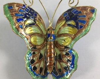 ON SALE Butterfly Cloisonne Ornament Multi Colored Figurine Vintage Mint