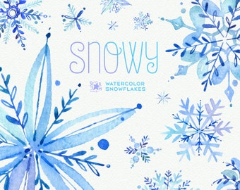 Snowy. Watercolor winter clipart, snowflakes, christmas, holiday, invitations, greetings card, diy, decoration, merry, blue, png