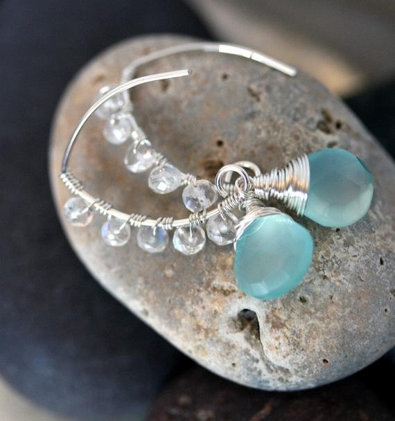 Chalcedony Earrings - Moonstone Earrings - Aqua Blue Stone Earrings - Wedding Jewelry - Something Blue - Open Hoop Earrings