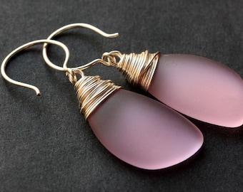 Pink Seaglass Earrings. Pink Earrings. Sea Glass Earrings. Wire Wrapped Wing Earrings. Handmade Jewelry.