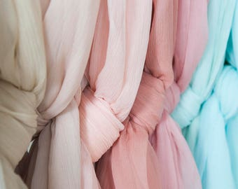 New 19 Colors:Georgette pure silk fabric,Crinkle Georgette,solid color,thin,sheer,soft,sew for shirt, blouse,dress,wedding,craft by the yard