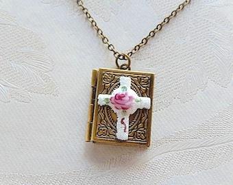 Cross Locket, Locket Book, Cloisonne, Gift for Her