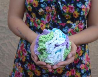 Crochet bath pouf 100% cotton natural eco friendly scrub ball shower puff bath sponge shower scrubby multicolor white green purple blue