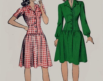 Vintage 1940s Dropped Waist Button Front Dress Sewing Pattern Du Barry 5421 Vintage 40s Swing Era Sewing Pattern Size 12 Bust 30