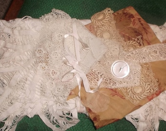 Collection of antique fabrics & trims~collages, books, crafting projects