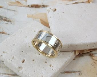 Viking Modern Rune Ring with Gemstone