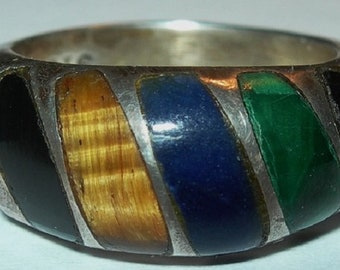 Free Shipping Mexican Sterling Band Ring Onyx Malachite Lapis Tiger's Eye Size 7.5 TL-17