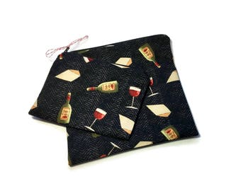 Reusable Sandwich and Snack Bags Set of 2 Wine Lovers Black Red Wine Cheese