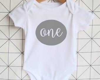 One - First Birthday Bodysuit - Boy's Birthday Onesie, Girl's Birthday Bodysuit, Birthday Shirt, Cake Smash Outfit, Birthday Tshirt, Grey