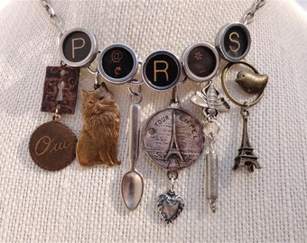 PARIS Necklace Typewriter Key Jewelry Eiffel Tower France Sterling Silver Vintage Charms CUSTOM