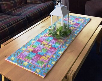 Quilted Easter Table Runner, Handmade Quilted Easter Runner, Pieced Easter Runner, 40 Inch Quilted Easter Table Runner, Small Holiday Runner