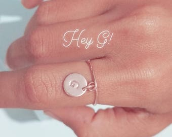 Initial Ring/ Bridesmaids Gifts/ Stamped Initial Ring/ Rose Gold Initial Rings/ Personalised Bridesmaids Gifts/ Custom Ring/ Letter Ring