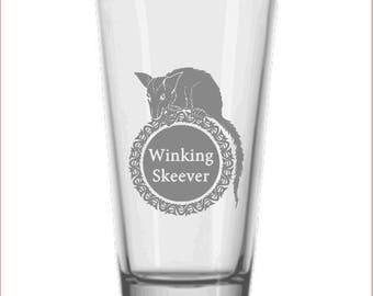 Skyrim inspired 'winking skeever' pint glass