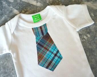 CLEARANCE 70% OFF Blue Plaid Tie appliqué on Sky Blue Short Sleeve top,  baby, boy tie t-shirt, boys t-shirt, toddler boy clothing, boys tie