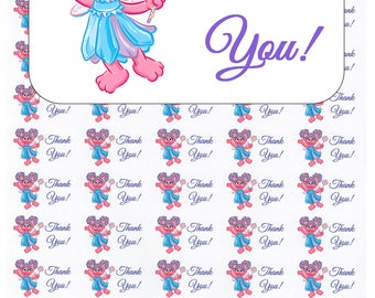"""50 Abby Cadabby Thank You! Envelope Seals / Labels / Stickers, 1"""" by 1.5"""""""
