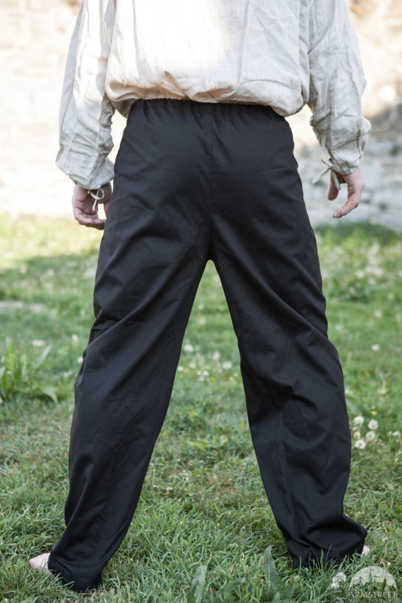 15% DISCOUNT! Medieval Cotton Trousers; Classic Straight Pants HygBUFMF