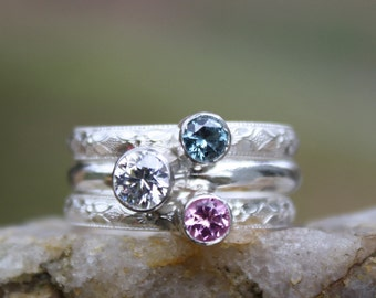 3 Gemstones, Family & Mother's Rings, two 4mm and one 5mm Gemstones, Stacking rings, Sterling Silver, Stackable, Mother's Day, custom made