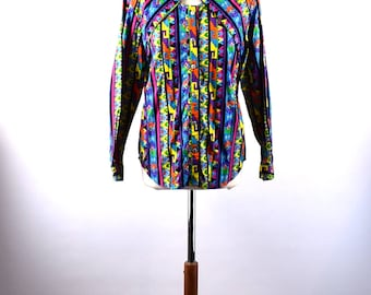 Southwestern Style Cowgirl Blouse by Cody James, Size Medium, 100% Cotton