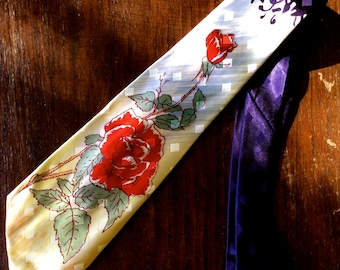 40s / 50s Hand Painted Jaquard Red Rose Necktie Tie NOS Dead Stock.