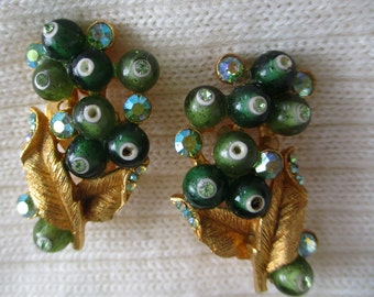 Vintage Flair: Signed BSK Clip back Earrings; brushed gold and beads/AB rhinestones, Vintage Estate Sale Jewelry, XF104