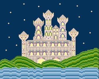 Needlepoint or Cross Stitch Pattern Design Chart - Magical City - Castles and Turrets Under Night Sky by Ocean