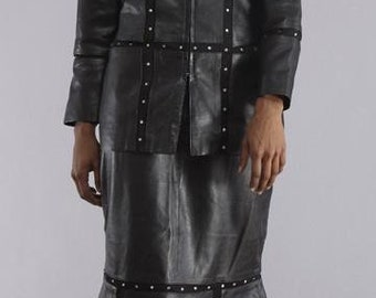 Black Leather Dress Suit - Jacket and Skirt