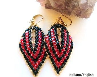 My Russian Leaf Earrings  (made the Mini DuosTutorial graphics pictures in Italian and English )